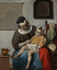 sick child on woman's lap