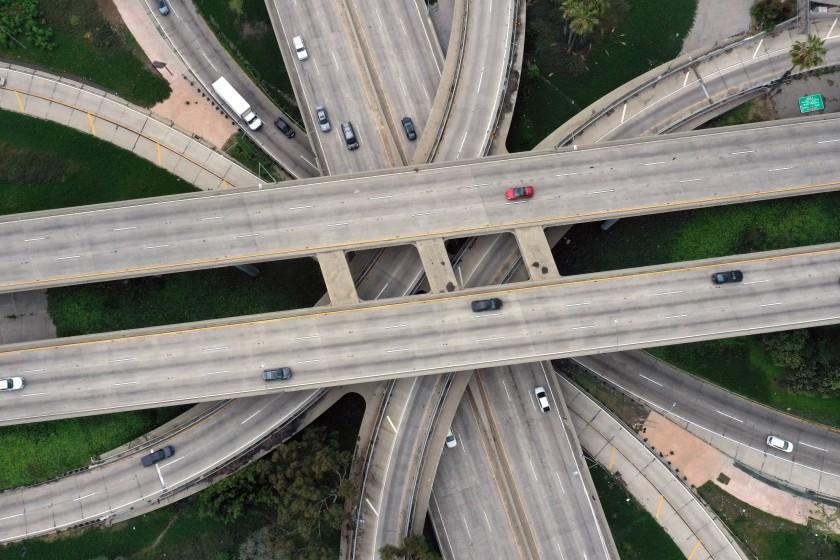 aerial view of empty freeway interchange